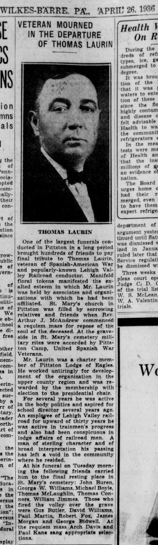Laurin, Thomas.,  Obit.,  Died 1936